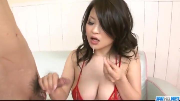 Yuu Haruka gets jizz on face after serious group blowjob